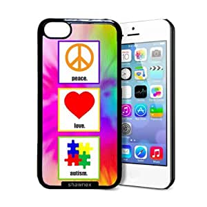 Shawnex Peace Love Autism iphone 5s Case - Thin Shell Plastic Protective Case iphone 5s Case