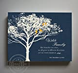 MuralMax - Personalized Family Tree & Lovebirds, Stretched Canvas Wall Art, Make Your Wedding & Anniversary Gifts Memorable, Unique Wall Decor - Navy # 2 - Size 24 x 20 - 30-DAY
