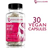 Boric Acid Suppositories By BalanceLovely - Support Feminine Hygiene & Balance Vaginal pH - Treat Yeast Infections, Bacterial Vaginosis & Relieve Pain, Dryness, Effectively - 30 Vegan Capsules