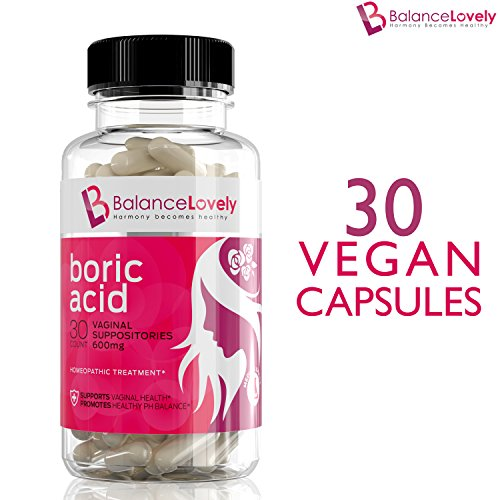 Boric Acid Suppositories -100% Pure Boric Acid -600mg in Vegan Capsules- Supports Feminine Hygiene & Vaginal pH - Treatment of Yeast Infections, Bacterial Vaginosis & Relieve Pain, Dryness (Best Antibiotic For Yeast Infection)