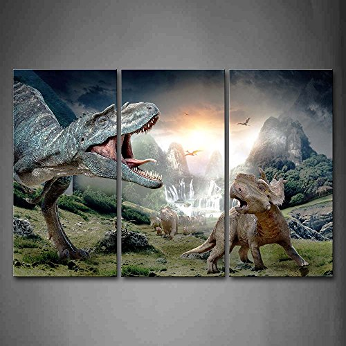 First Wall Art - Dinosaur Openmouth With Cub Wall Art Painting Pictures Print On Canvas Animal The Picture For Home Modern Decoration ()