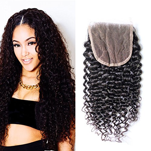 DAIMER Kinky Curly Closure Lace Front 4x4 Free Part Bleache Knots With Baby Hair 8A 100 Unprocessed Virgin Brazilian Human Hair Extensions Natural Color 12 -