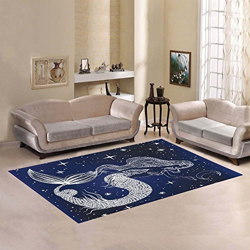 InterestPrint Mermaid Area Rug Cover 7' x 5' Feet, Moon Stars Blue Sea Ocean Throw Rayon Fiber Carpet Rugs Cover for Home Living Dining Room Decoration