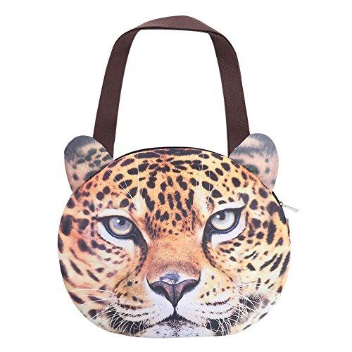 Widewing Cute 3D Animal Face Printing Female Handbag Messenger Bag Zipper Handbag Leopard