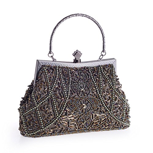 Style HeySun Bags Vintage for Sequin Beaded Bronze Evening Purse Handbag Wedding Women Antique Formal xUwx0Xrn