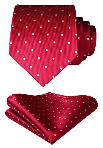 HISDERN Men's Polka Dot Tie Handkerchief Wedding Party Necktie & Pocket Square Set Red