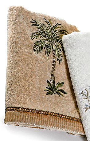 51stgkcExAL - Avanti Palm Tree Bath Towel One Size Linen beige