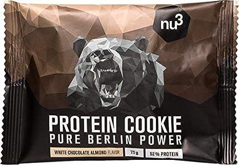 nu3 Galleta de proteína | 12 x 75g | Delicioso sabor chocolate blanco y almendras | 39g de proteína por galleta | 60% menos carbohidratos que en los ...