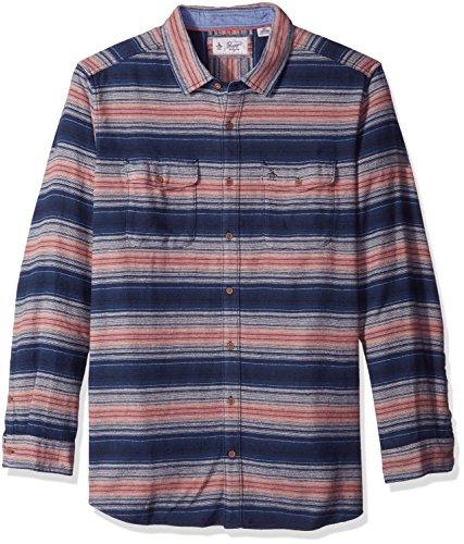 Original Penguin Mens Big and Tall Flannel Striped Shirt