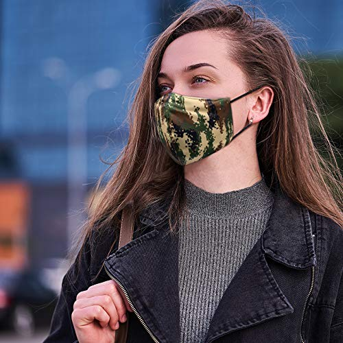 3PCS Camo Face Mask for Women,Silk Masks Washable,Reusable and Breathable