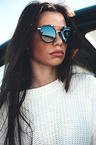 mujer de hombre espejo degradadas DOYLE Azul sol Degradado Negro Gafas TWIG 1A0wp