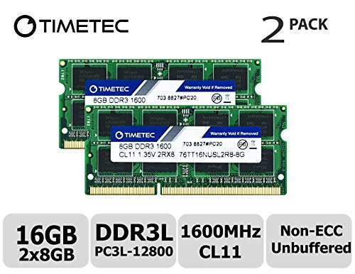 Timetec Hynix IC 16GB Kit(2x8GB) DDR3L 1600MHz PC3L-12800 Non ECC Unbuffered 1.35V CL11 2Rx8 Dual Rank SODIMM Laptop Memory Ram (16GB Kit(2x8GB)) - Non Ecc Unbuffered Sodimm Memory