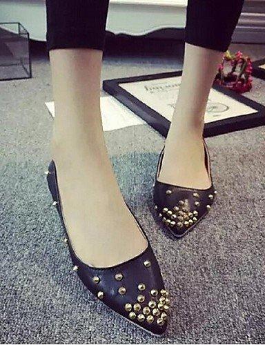 uk6 Flats white eu39 cn39 zapatos Toe las señaló mujeres negro Casual PDX us8 talón plano blanco de 8q7xZ