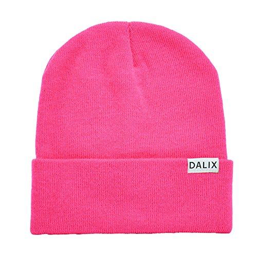 """DALIX Cuff Beanie Cap 12"""" in Neon Pink"""