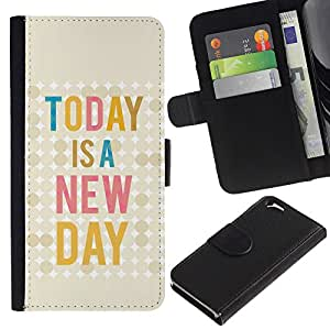 Billetera de Cuero Caso Titular de la tarjeta Carcasa Funda para Apple Iphone 6 4.7 / Today Is New Day Quote Text Motivational / STRONG