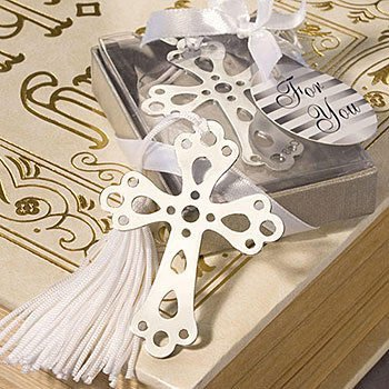Crochet Cross (Akanbou(TM) Silver Cross Bookmarks with White Tassel: Metal Cross Bookmark Favors (Pack of 8))