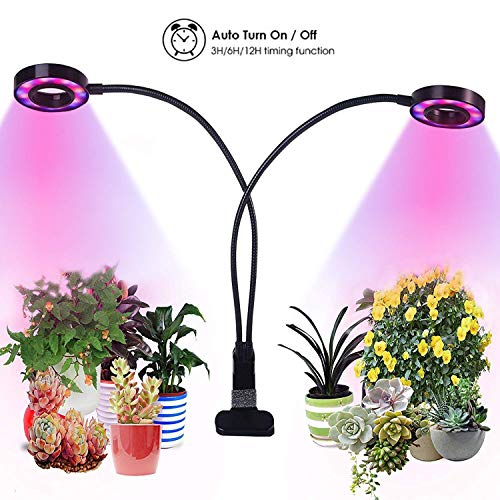 Grow Lights for Indoor Plants,Growstar 20W Dual Head Plant Lamp with 3/6/12H Timer Red/Blue/White Spectrum 360 Degree Flexible Gooseneck 3 Switch Modes Gardening & Office Reading [2019 Latest Upgrade]