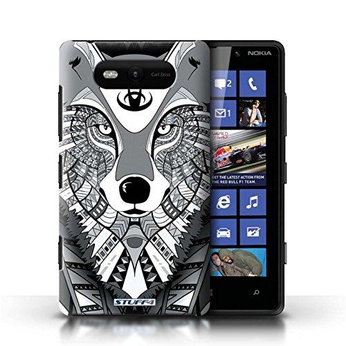 Etui / Coque pour Nokia Lumia 820 / Loup-Mono conception / Collection de Motif Animaux Aztec