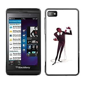 Shell-Star Arte & diseño plástico duro Fundas Cover Cubre Hard Case Cover para Blackberry Z10 ( Microphone Singer Man Black Music Art )