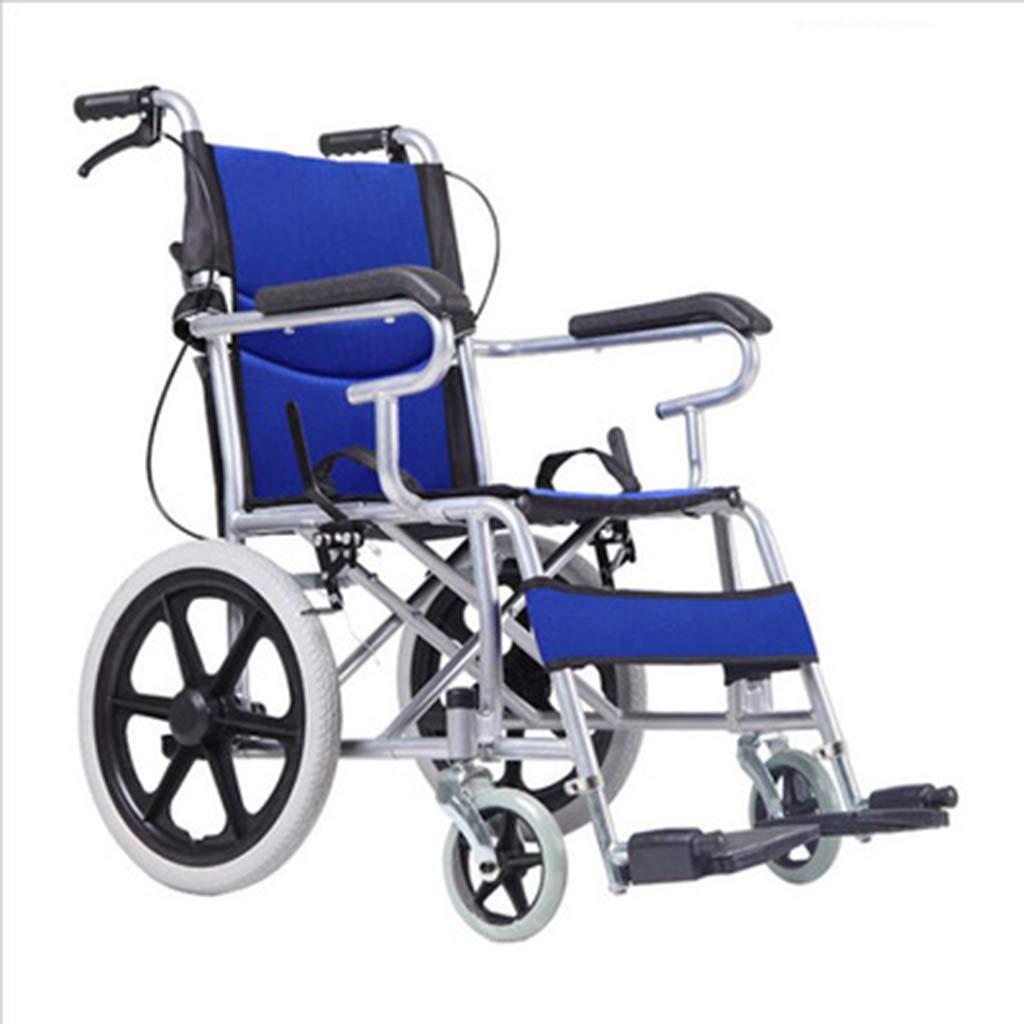 HATHOR-23 車椅子折りたたみ式、携帯用、非膨張式、高齢者用バリアフリー折りたたみ椅子 (色 : 青)  青 B07PGP9SKS