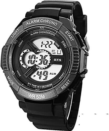 Boys trends in outdoor sports watches/Waterproof luminous creative digital watch-E