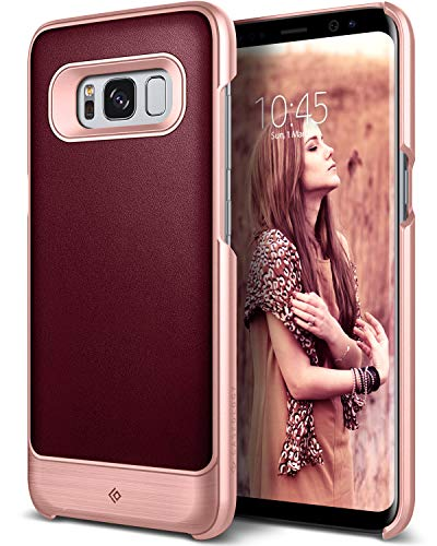 Caseology Strata for Galaxy S8 Plus Case - [Premium Leather] - Burgundy