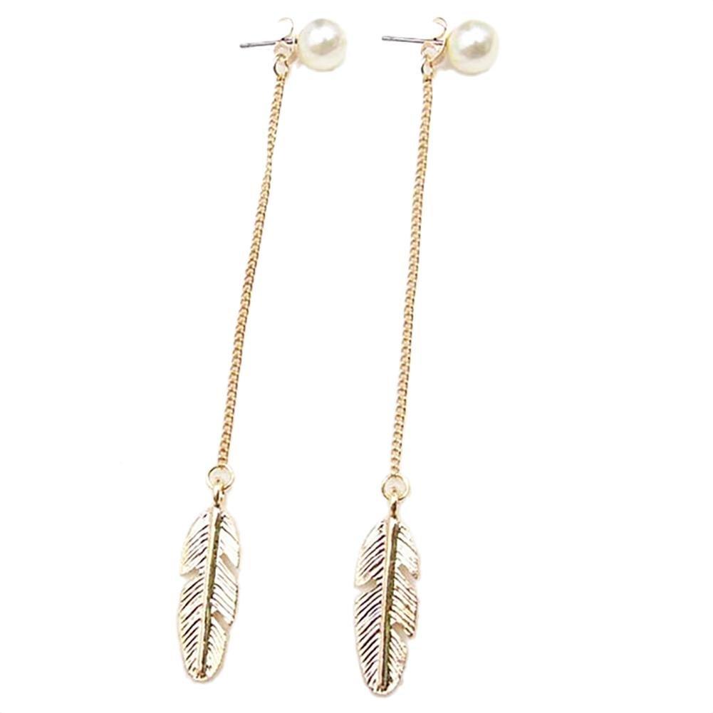 Feather Leaf Pearl Drop Earrings Women Chain Tassel Long Dangle Jewelry
