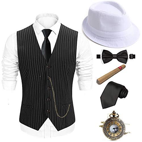 1920s Mens Costume Accessories Set - Fedora Hat,Gatsby Gangster Vest,Vintage Pocket Watch,Plastic Cigar,Pre Tied Bow Tie,Tie,S]()