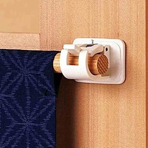 Transser - 4Pcs Bathroom Wall Round Rod Hook Stick Hook, Self Adhesive Hooks Curtain Rod Wall Bracket Pole & Fixings Rod Holder (4Pcs)