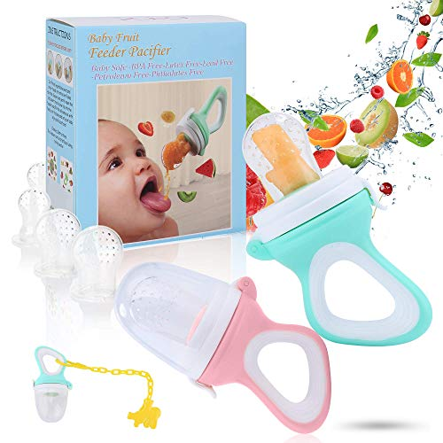 Baby Food Feeder - Baby Fruit Feeder Pacifier- Fresh Food Feeder - Food Teething Pacifier - Food Feeder Teether - Mesh Infant Fruit Teething Toy, 2 Pack with 4 Silicone Nipple Teats Sacs