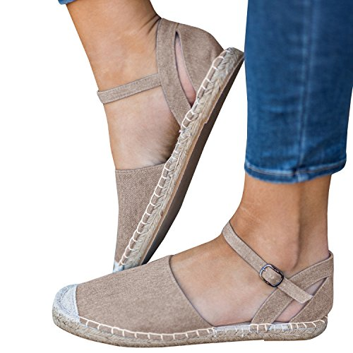 Nulibenna Womens Casual Espadrilles Sneaker Ankle Strap Canvas Sandals Shoes (Ankle Strap Sneakers)