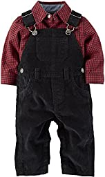 Carters Baby Boys Corduroy Overalls Set 6 Month Black/red