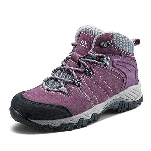 f7755f0a2 Clorts Women s Classic Hiking Boots Waterproof Suede Leather Lightweight Hiking  Shoes Purple US Women Size 9 Medium Width