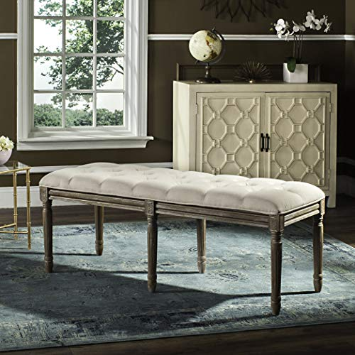 Safavieh Home Collection Rocha French Brasserie Tufted Beige and Rustic Oak 19-inch Wood Bench