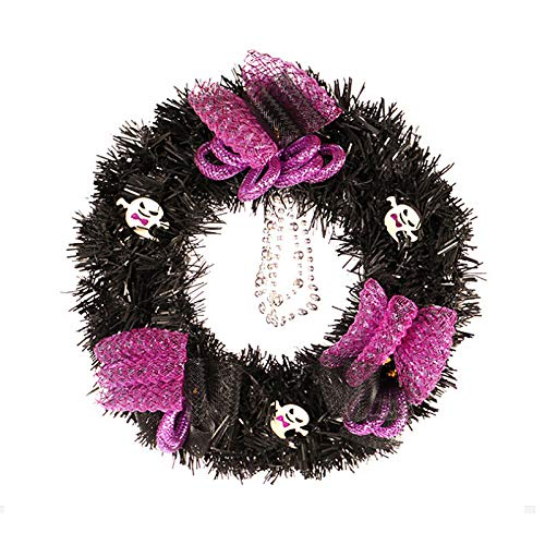 T-REASURE Halloween Wreath,Black Tinsel Wreath Halloween Skull and Ghost Artificial Wreath for Front Door Decoration Thanksgiving Party Decor Garland