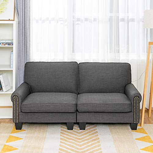 LifeFair Traditional Upholstered 70 Inch Sofa,Living Room Couch loveseat Sofa, Gray