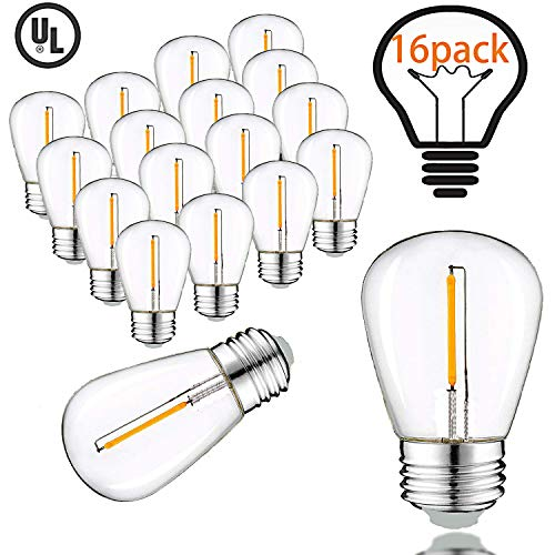 Vintage LED Edison Bulbs for Outdoor String Lights, 1W Equivalent 11W, 100lm, Warm White 2200K, E26 Medium Base,S14 Antique LED Light Bulbs Dimmable with RF Wirele Dimmer - LED Filament Bulbs (16Pack)