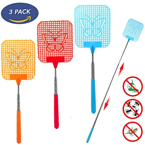 Fly Swatter Extendable, [Portable to Be Your Travel Partner] Strong Flexible Manual Swat with Durable Telescopic Handle - Colorful Pack of 3 - Antique Partners Desk