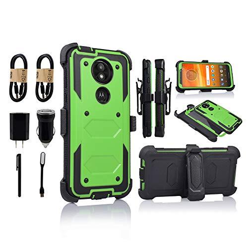 (for Moto E5 Plus Case, Moto E5 Supra Case, [360 Degree Protection] Rugged Heavy Duty Case with Built-in-Screen Protector for Motorola E5 Plus [Value Bundle] (Green))