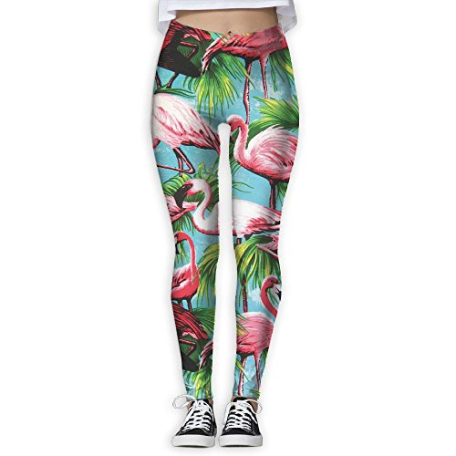 8d11b0331b DYOW Women's Summer Pink Flamgo Plam Print Sports Gym Yoga Leggings Pants