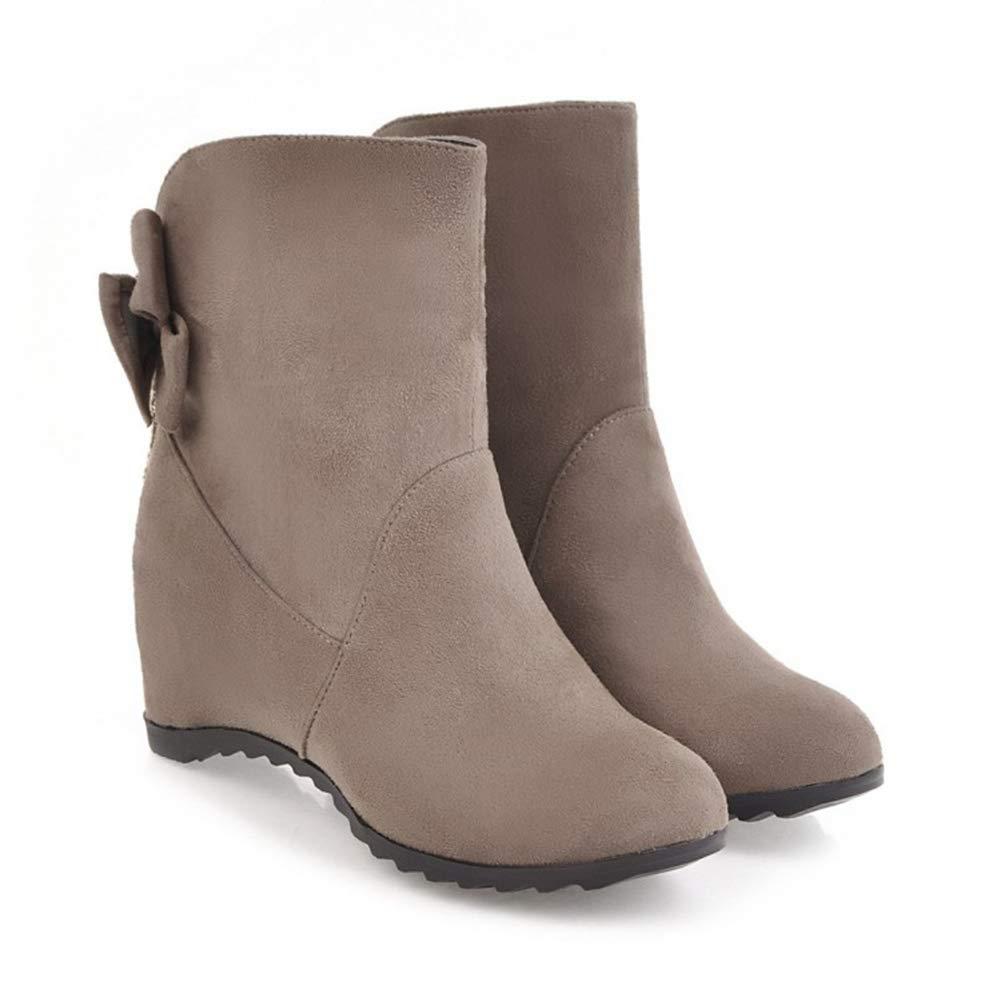 Damen Stiefel Herbst Winter Große Größe Damenschuhe Flache Bogen Niedrige Stiefel Matte Leder Koreanische Damen Stiefel (Farbe   C Größe   34)