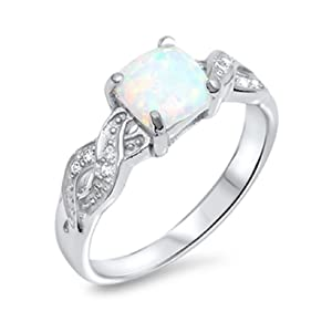 Infinity Crisscross Wedding Ring Princess Cut Lab Created White Opal Round CZ 925 Sterling Silver