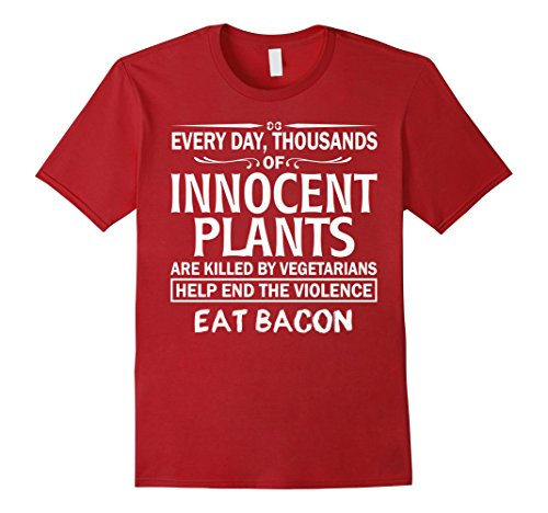 mens-eat-bacon-innocent-plants-gift-idea-gag-gift-funny-t-shirt-medium-cranberry