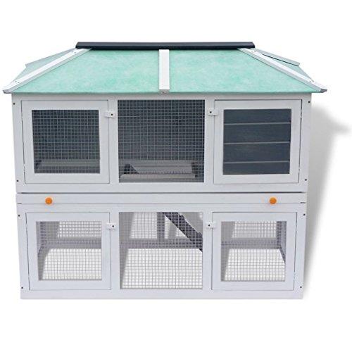 Festnight Animal Rabbit Cage Bunny Hutch Outdoor Run Double Floor, Wood