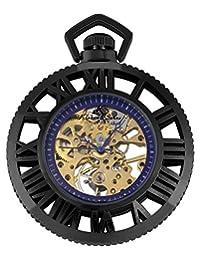 KS Retro futurism Black Steampunk Gear Skeleton Mechanical Hand-Winding Pocket Watche KSP069