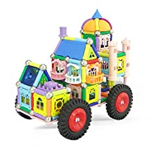 PlayMaty Magnetic Building Blocks Toys 238 Piece Castle and Car Building Bricks Toy Set
