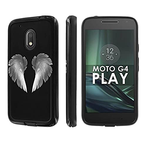 Motorola Moto G Play [4th Gen] Phone Case [NakedShield] [Black/Black] Dual Armor ShockProof Case - [Wings of Angel] for Moto [G4 (Motorola G Glass Covers)