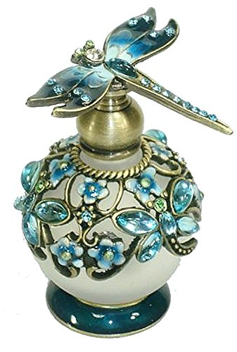 Welforth Jeweled Dragonfly Turquoise Blue & Flower Enamel Crystal Perfume Bottle