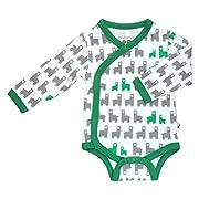 Babysoy Organic Printed Kimono Bodysuit (12-18 Months, Llama/Forest)