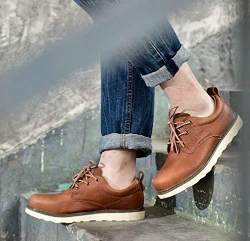 Y Zapatos Hy Marrón Calzados Reddish Informales Otoño 41 invierno Hombre Cordones Hombres Trekking Botas Martins Herramientas Bajos Brown Con color Tamaño Cuero Para De Formales 6zf6w4qr